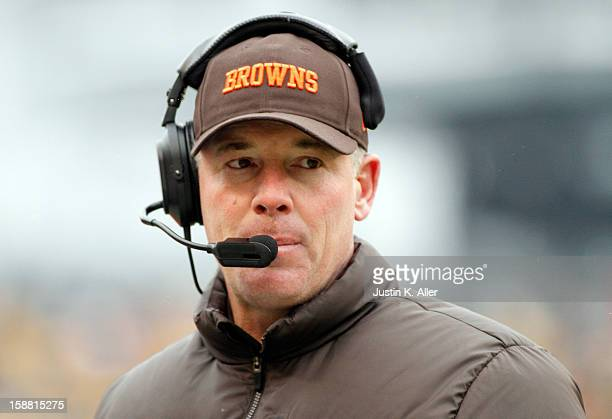 Head coach Pat Shurmur of the Cleveland Browns looks on from the sideline during the game against the Pittsburgh Steelers on December 30 2012 at...