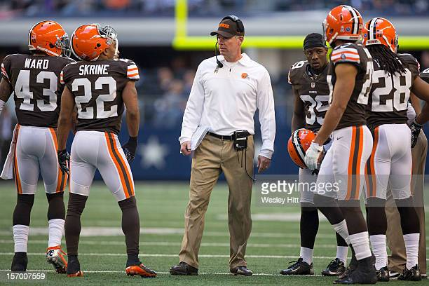 Head Coach Pat Shurmur of the Cleveland Browns on the sidelines during a game against the Dallas Cowboys at Cowboys Stadium on November 18 2012 in...