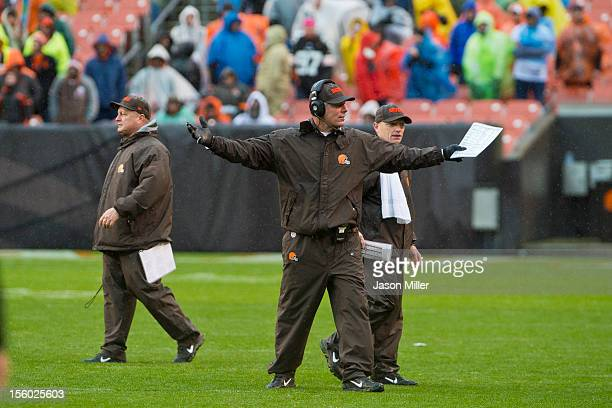 Head coach Pat Shurmur of the Cleveland Browns reacts during the second half against the San Diego Chargers at Cleveland Browns Stadium on October 28...