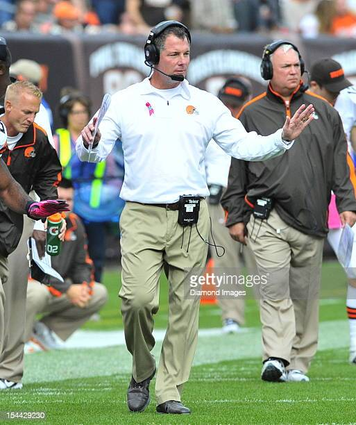 Head coach Pat Shurmur of the Cleveland Browns reacts to a call on the field during a game with the Cincinnati Bengals at Cleveland Browns Stadium in...