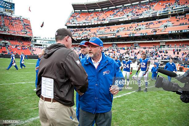 Head coach Pat Shurmur of the Cleveland Browns shakes hands with head coach Chan Gailey of the Buffalo Bills after the game at Cleveland Browns...