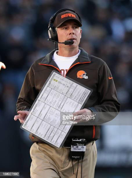 Head coach Pat Shurmur of the Cleveland Browns walks the sidelines during their game against the Oakland Raiders at Oco Coliseum on December 2 2012...