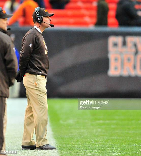 Head coach Pat Shurmur of the Cleveland Browns watches his team from the sideline during a game against the Baltimore Ravens at Cleveland Browns...