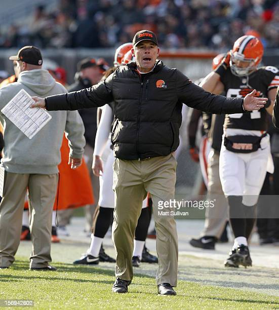 Head coach Pat Shurmur of the Cleveland Browns yells at the officials against the Pittsburgh Steelers at Cleveland Browns Stadium on November 25 2012...