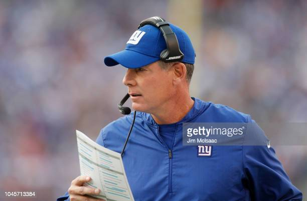 Head coach Pat Shurmur of the New York Giants in action against the New Orleans Saints on September 30 2018 at MetLife Stadium in East Rutherford New...