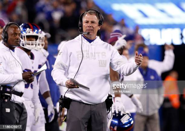 Head coach Pat Shurmur of the New York Giants in action against the Dallas Cowboys at MetLife Stadium on November 04 2019 in East Rutherford New...