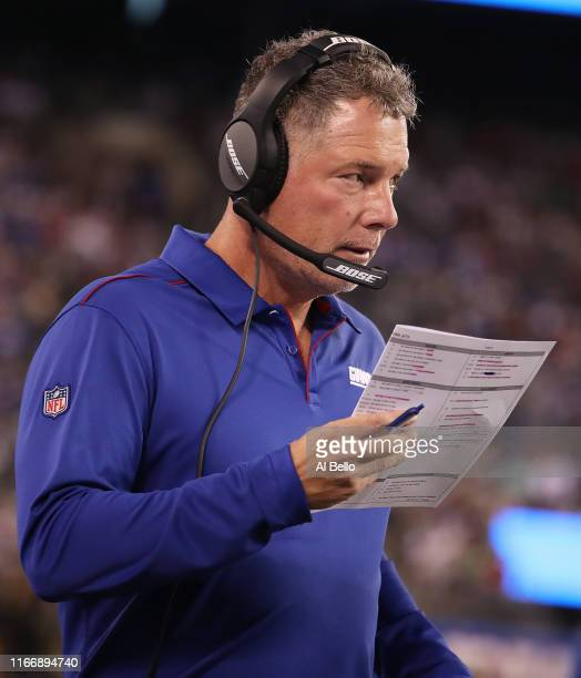 Head coach Pat Shurmur of the New York Giants looks on against the New York Jets during their Pre Season game at MetLife Stadium on August 08 2019 in...