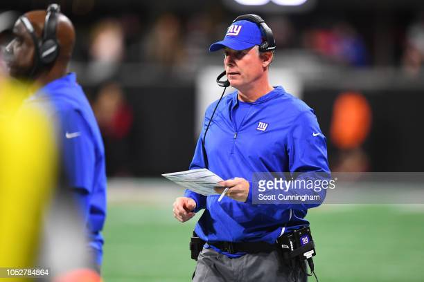 Head coach Pat Shurmur of the New York Giants looks on during the fourth quarter against the Atlanta Falcons at MercedesBenz Stadium on October 22...