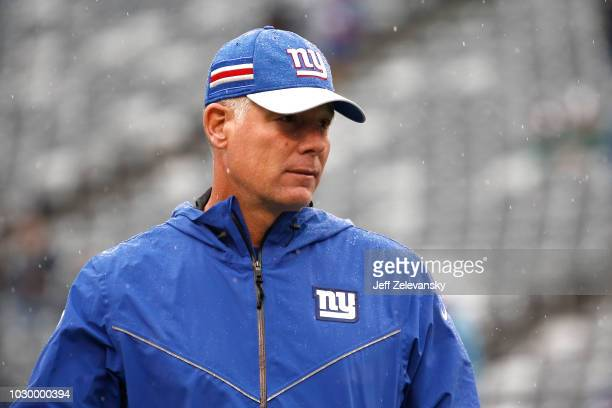Head coach Pat Shurmur of the New York Giants looks on during warm ups against the Jacksonville Jaguars at MetLife Stadium on September 9 2018 in...