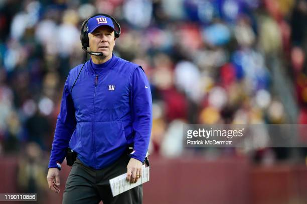 Head coach Pat Shurmur of the New York Giants looks on from the sideline in the second half against the Washington Redskins at FedExField on December...