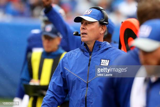 Head coach Pat Shurmur of the New York Giants looks on in the second half against the Jacksonville Jaguars at MetLife Stadium on September 9 2018 in...