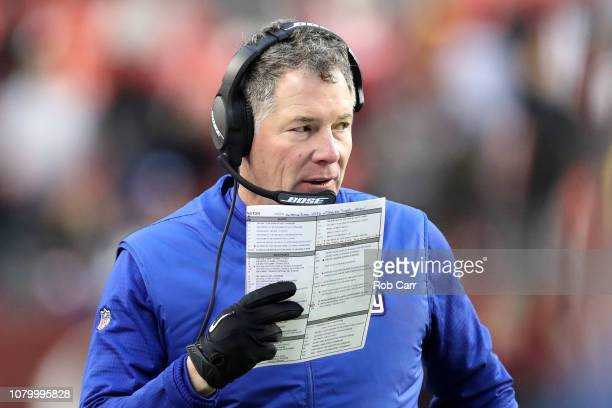 Head coach Pat Shurmur of the New York Giants looks on in the second half against the Washington Redskins at FedExField on December 09 2018 in...
