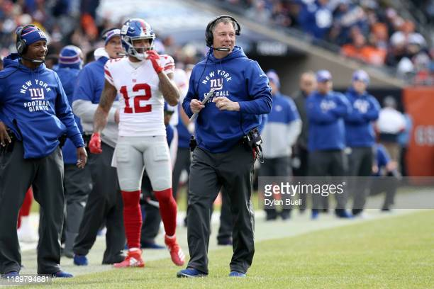 Head coach Pat Shurmur of the New York Giants looks on in the second quarter against the Chicago Bears at Soldier Field on November 24 2019 in...
