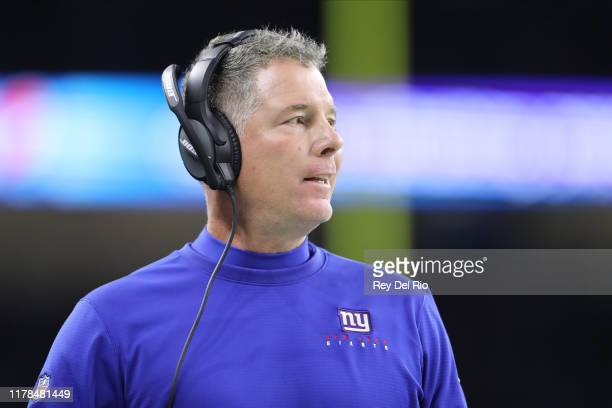 Head coach Pat Shurmur of the New York Giants looks on in the third quarter during a game against the Detroit Lionsat Ford Field on October 27 2019...