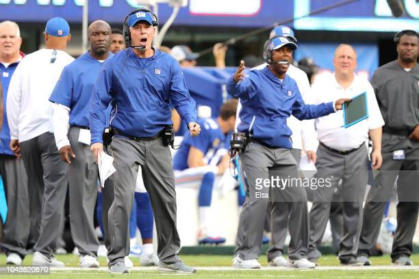 Head coach Pat Shurmur of the New York Giants reacts after a personal foul called on Janoris Jenkins of the New York Giants in the second quarter...