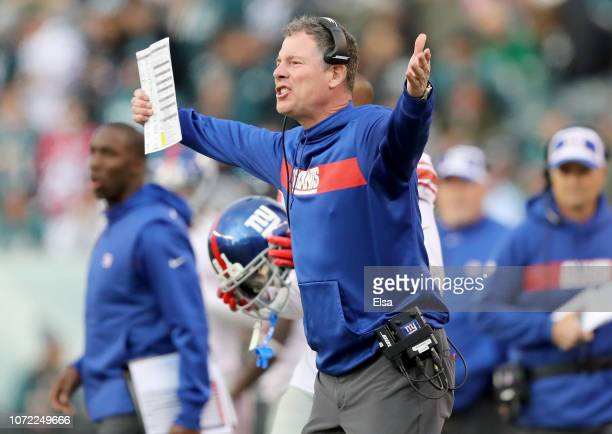 Head coach Pat Shurmur of the New York Giants reacts after there is no penalty call against Cre'von LeBlanc of the Philadelphia Eagles in the fourth...