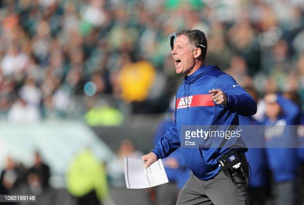Head coach Pat Shurmur of the New York Giants reacts as they take on the Philadelphia Eagles during the second quarter at Lincoln Financial Field on...