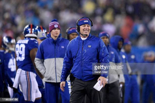 Head coach Pat Shurmur of the New York Giants smiles after Saquon Barkley scored a touchdown against the Philadelphia Eagles during the third quarter...