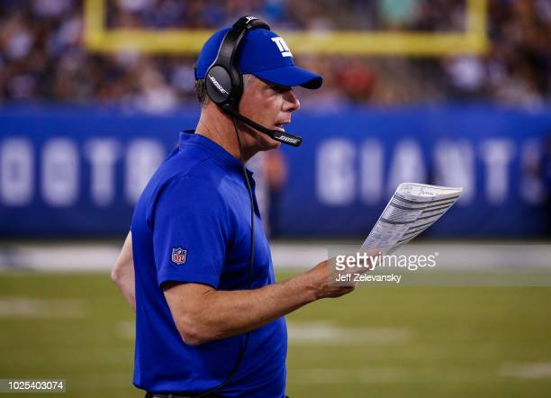 Head coach Pat Shurmur of the New York Giants stands on the sidelines during a preseason NFL game against the New England Patriots at MetLife Stadium...