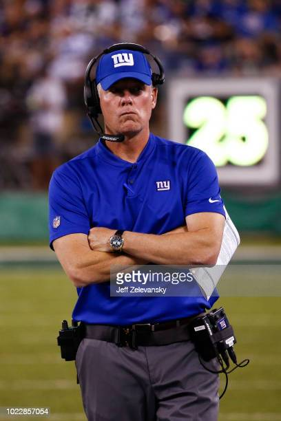Head coach Pat Shurmur of the New York Giants walks on the sidelines during their preseason game against the New York Jets at MetLife Stadium on...