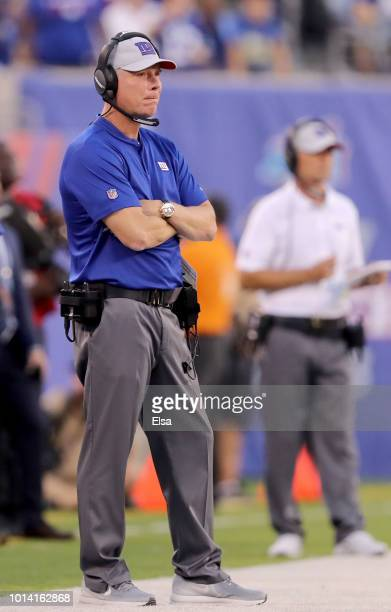 Head coach Pat Shurmur of the New York Giants watches his team in the first half against the Cleveland Browns during their preseason game on August...
