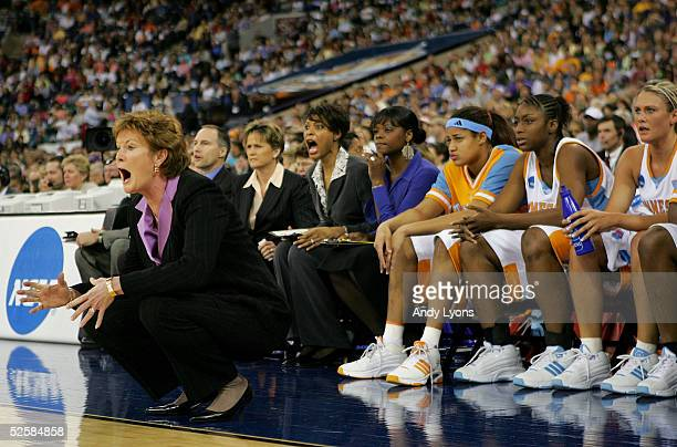Head coach Pat Summitt Assistant coaches Dean Lockwood Holly Warlick and Nikki Caldwell of the Tennessee Lady Vols react to a play in the Semifinal...