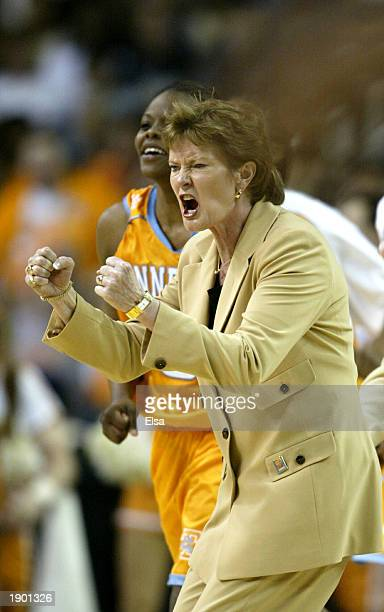 Head coach Pat Summitt of Tennessee shouts to her team during the NCAA Women's Final Four against Duke at the Georgia Dome on April 6 2003 in Atlanta...