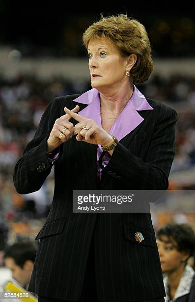 Head coach Pat Summitt of the Tennessee Lady Vols calls a play in the game against the Michigan State Spartans in the Semifinal game of the Women's...