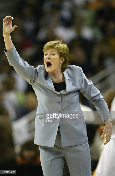 Head coach Pat Summitt of the Tennessee Lady Vols instructs her team during the National Championship game of the NCAA Women's Final Four Tournament...