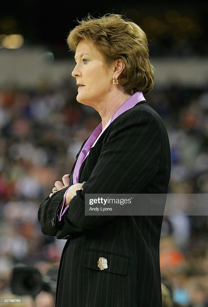 Head coach Pat Summitt of the Tennessee Lady Vols watches from the sidelines in the Semifinal game of the Women's NCAA Basketball Championship against the Michigan State Spartans on April 3, 2005 at the RCA Dome in Indianapolis, Indiana. Michigan State defeated Tennessee 68-64.
