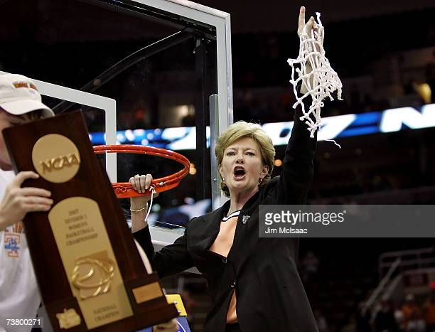 Head coach Pat Summitt of the Tennessee Lady Volunteers celebrates after cutting down the net after Tennessee's 5946 win against the Rutgers Scarlet...
