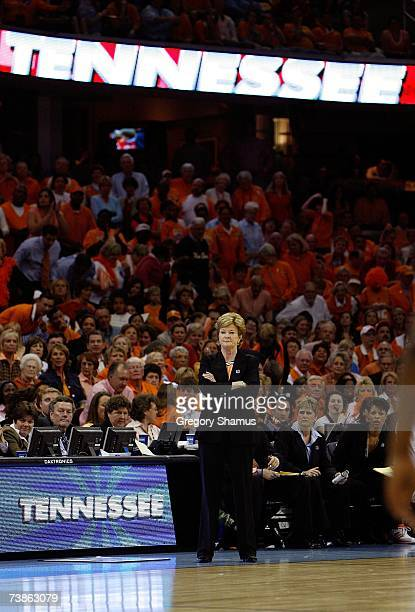 Head coach Pat Summitt of the Tennessee Lady Volunteers coaches against the Rutgers Scarlet Knights during the 2007 NCAA Women's Basketball...