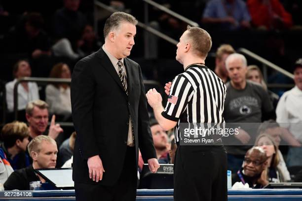 Head coach Patrick Chambers of the Penn State Nittany Lions argues with the official against the Penn State Nittany Lions during the semifinals of...