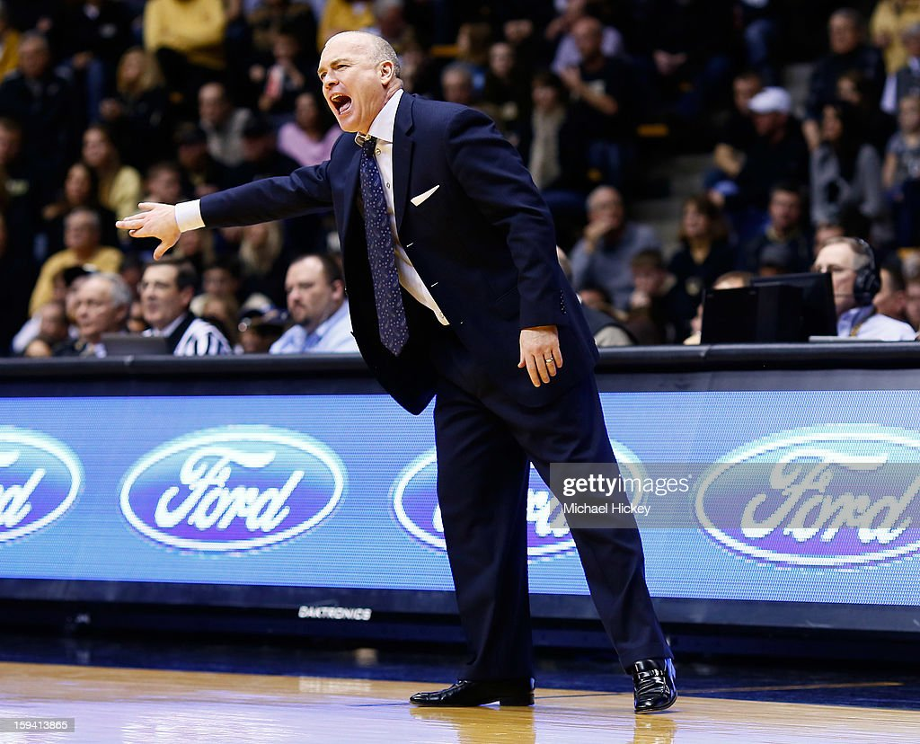 Head coach Patrick Chambers of the Penn State Nittany Lions calls out during the game against the Purdue Boilermakers at Mackey Arena on January 13, 2013 in West Lafayette, Indiana. Purdue defeated Penn State 60-42.