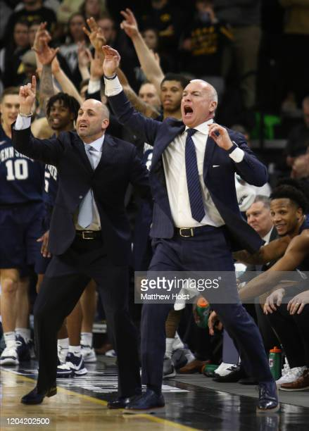 Head coach Patrick Chambers of the Penn State Nittany Lions yells during the first half against the Iowa Hawkeyes at Carver-Hawkeye Arena on February...