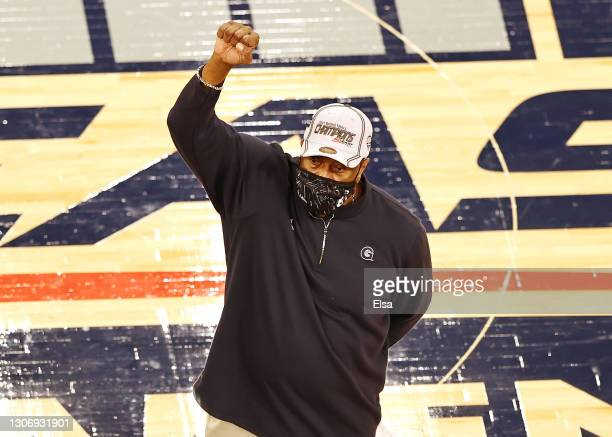 Head coach Patrick Ewing of the Georgetown Hoyas celebrates the win over the Creighton Bluejays to win the Big East Championship game at Madison...