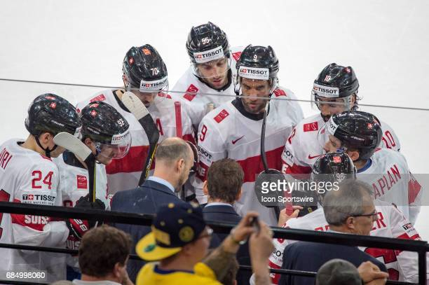 Head Coach Patrick Fischer takes a time out during the Ice Hockey World Championship Quarterfinal between Switzerland and Sweden at AccorHotels Arena...