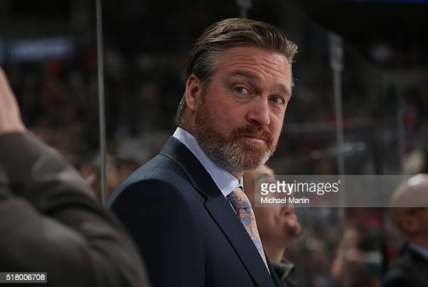 Head coach Patrick Roy of the Colorado Avalanche looks on during the game against the Philadelphia Flyers at the Pepsi Center on March 24 2016 in...