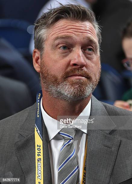 Head coach Patrick Roy of the Colorado Avalanche looks on during the 2016 NHL Draft at First Niagara Center on June 25 2016 in Buffalo New York