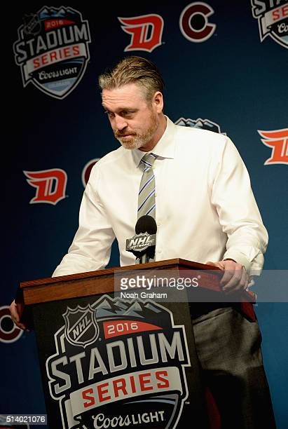 Head Coach Patrick Roy of the Colorado Avalanche speaks at a post game press conference after the 2016 Coors Light Stadium Series game between the...