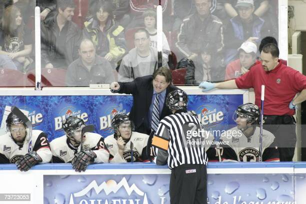 Head coach Patrick Roy of the Quebec City Remparts discusses a call with an official during the game against the Drummondville Voltigeurs at Colisee...