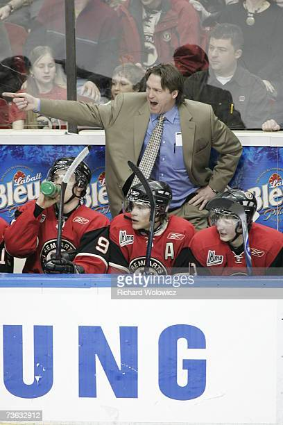 Head coach Patrick Roy of the Quebec City Remparts instructs his players during the game against Chicoutimi Sagueneens at Colisee Pepsi on March 16,...