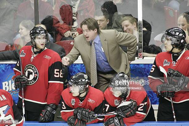 Head coach Patrick Roy of the Quebec City Remparts reacts to a call against his team during the game against Chicoutimi Sagueneens at Colisee Pepsi...