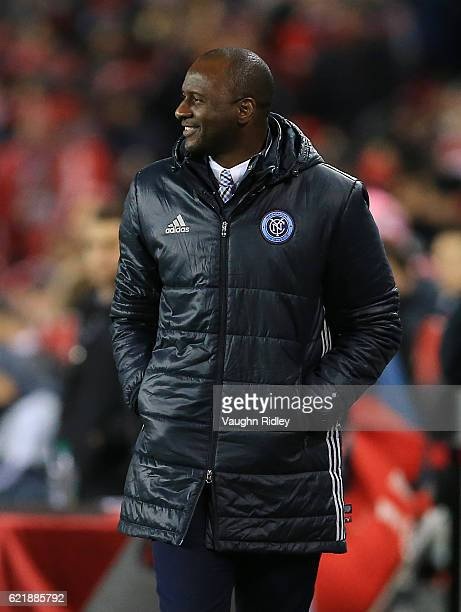 Head Coach Patrick Vieira of New York City FC looks on from the dugout during the first half of an MLS Conference semifinal playoff game against...