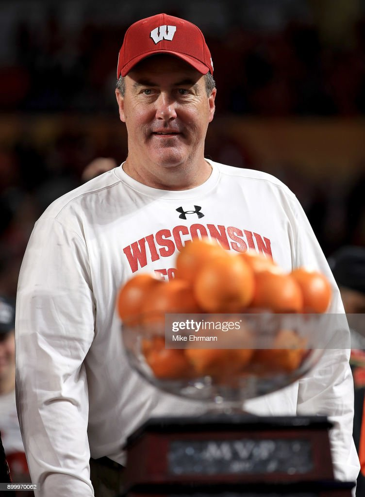 Head coach Paul Chryst of the Wisconsin Badgers celebrates after winning the 2017 Capital One Orange Bowl against the Miami Hurricanes at Hard Rock Stadium on December 30, 2017 in Miami Gardens, Florida.