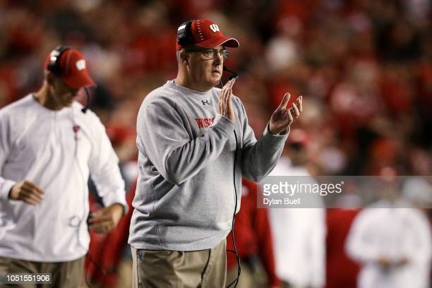 Head coach Paul Chryst of the Wisconsin Badgers celebrates in the second quarter against the Nebraska Cornhuskers at Camp Randall Stadium on October...