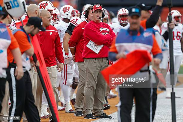 Head coach Paul Chryst of the Wisconsin Badgers looks up at the clock during the game against the Illinois Fighting Illini at Memorial Stadium on...