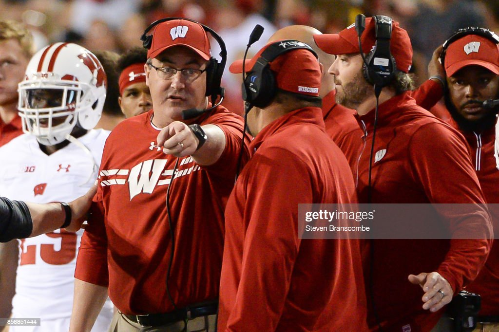 Head coach Paul Chryst of the Wisconsin Badgers points during action against the Nebraska Cornhuskers at Memorial Stadium on October 7, 2017 in Lincoln, Nebraska.