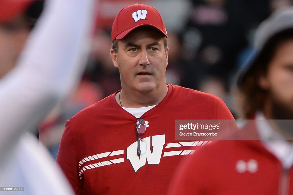 Head coach Paul Chryst of the Wisconsin Badgers watches pregame action before the game against the Nebraska Cornhuskers at Memorial Stadium on October 7, 2017 in Lincoln, Nebraska.