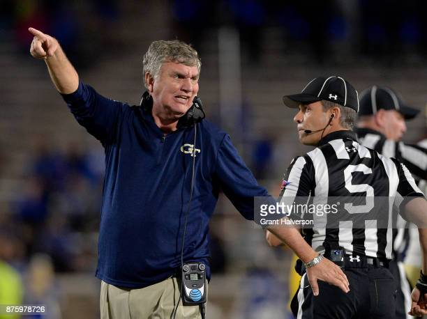 Head coach Paul Johnson of the Georgia Tech Yellow Jackets argues with the officials during their game against the Duke Blue Devils at Wallace Wade...